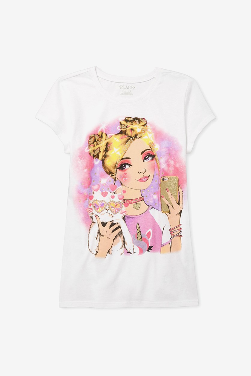 Kids Girls Printed Tops, White