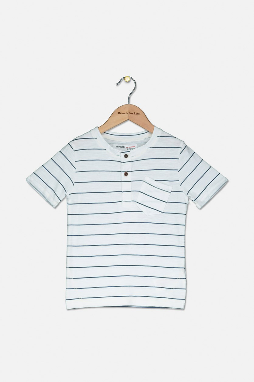 Kids Boys Stripe Short Sleeve Tee, White/Blue