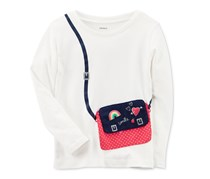 Carter's Girl's Long-Sleeve Purse Cotton T-Shirt, White