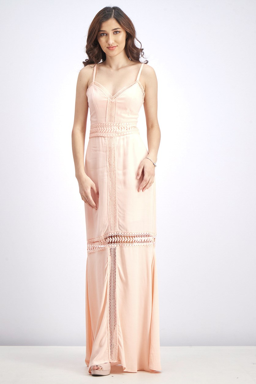 Women's Lace Trim Crepe Maxi Dress, Melon