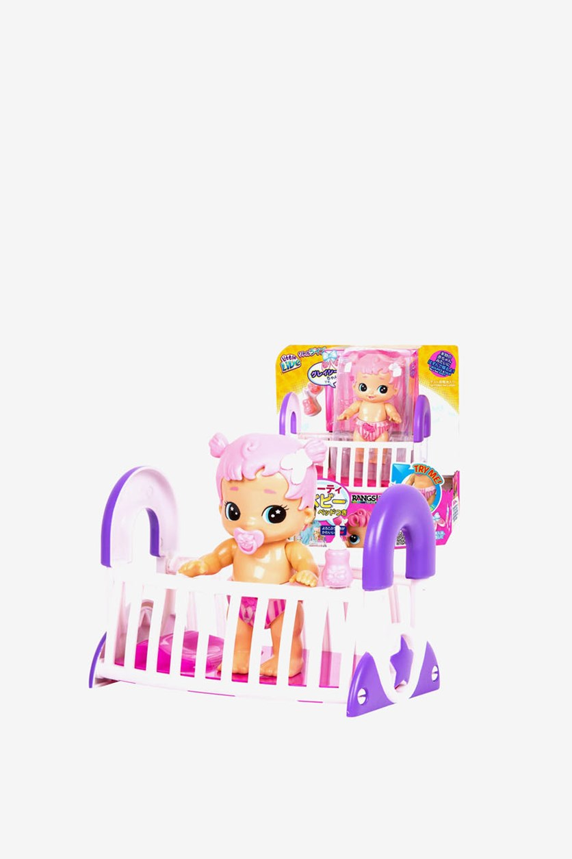 Bouncing Baby Gracie & Cute Crib Playset, Pink Combo