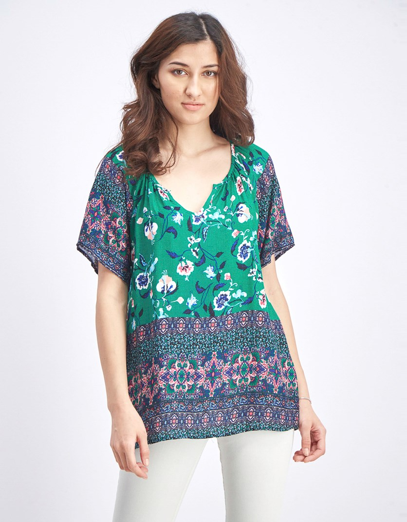 Women's Floral V Neck Top, Green