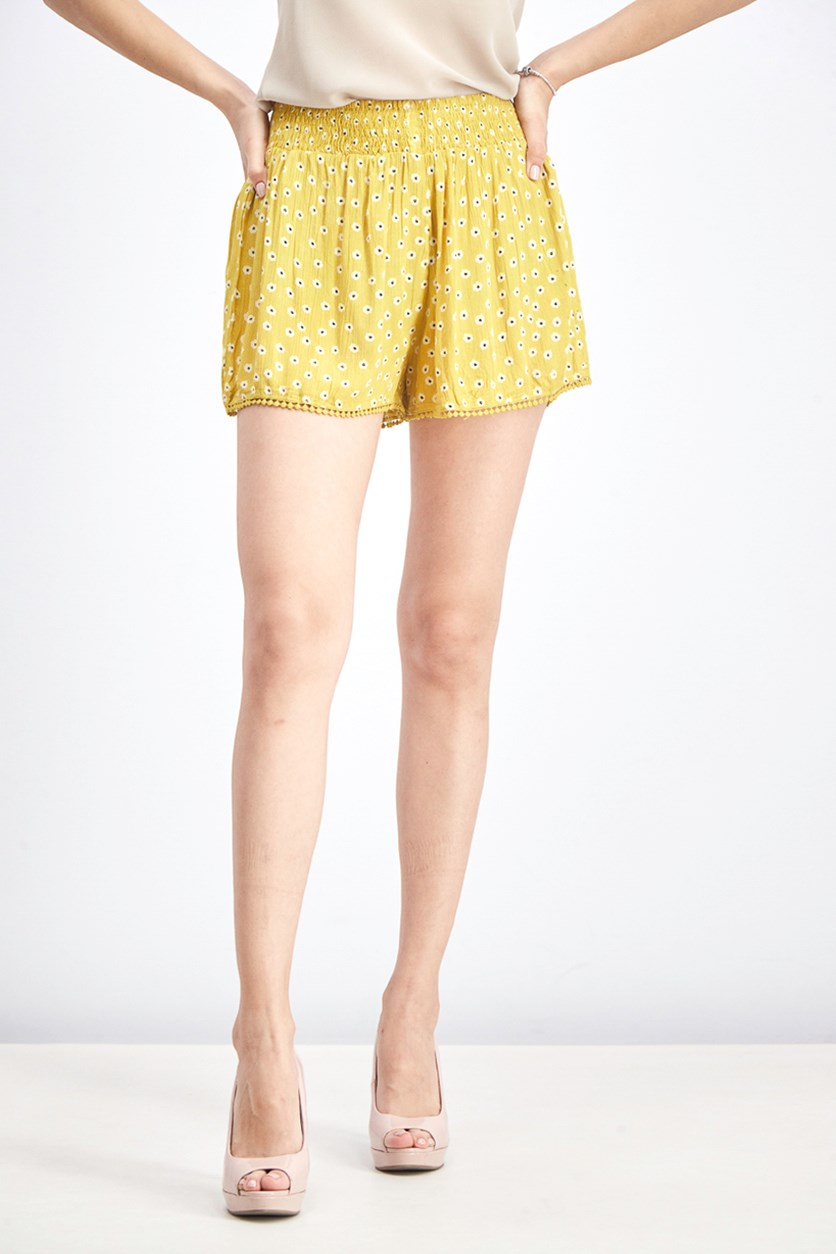 Women Floral Print Short, Yellow