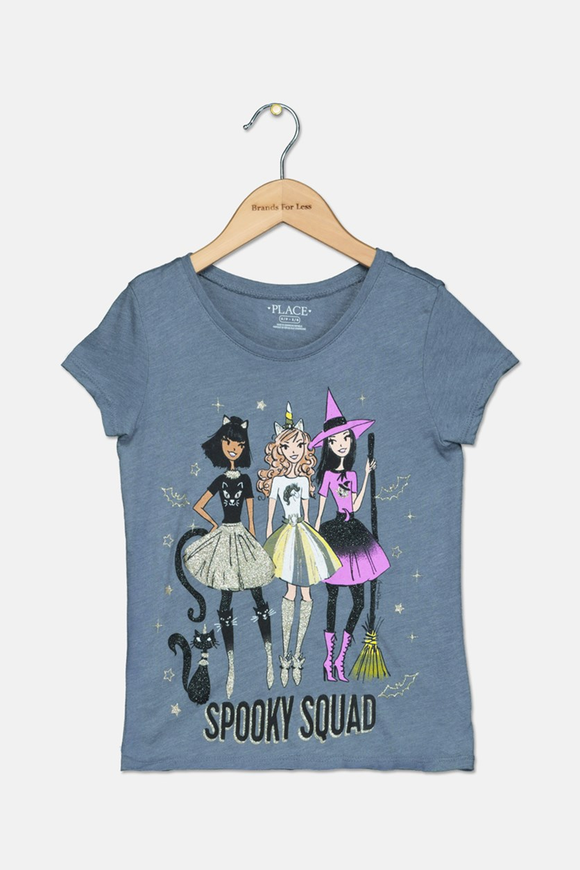 Girl's Spooky Squad Tee, Grey