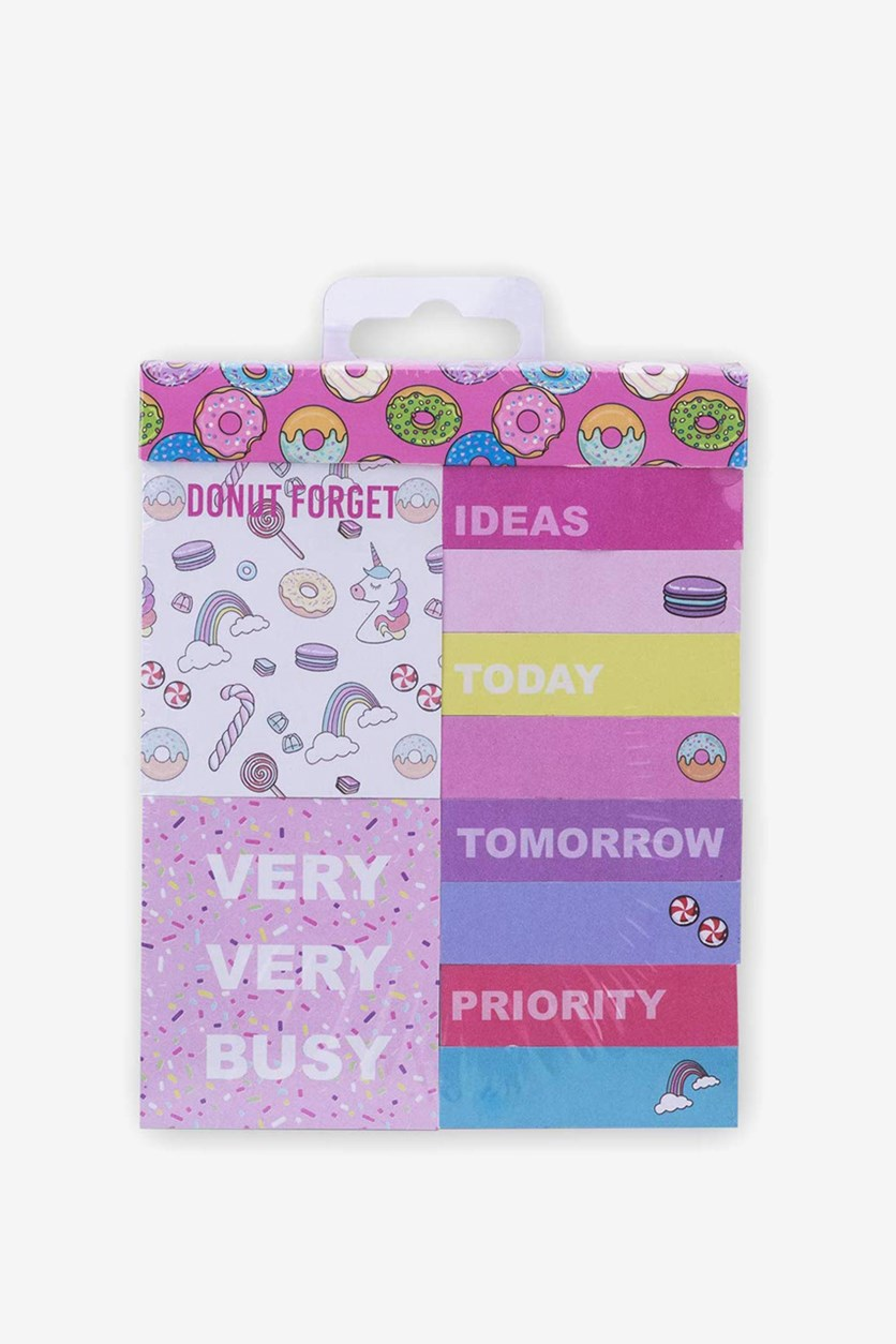 Set Of 12 Colored Sticky Notes Donuts Design, Pink