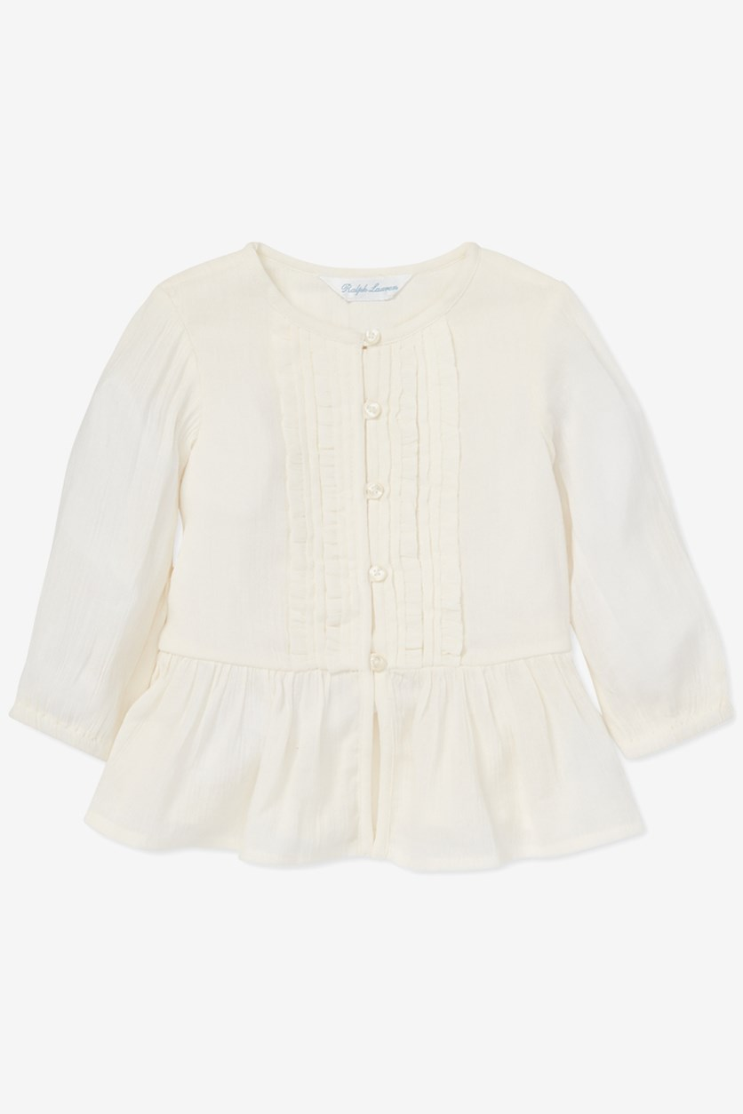 Toddler Girls Gauze Boho Top, Off White