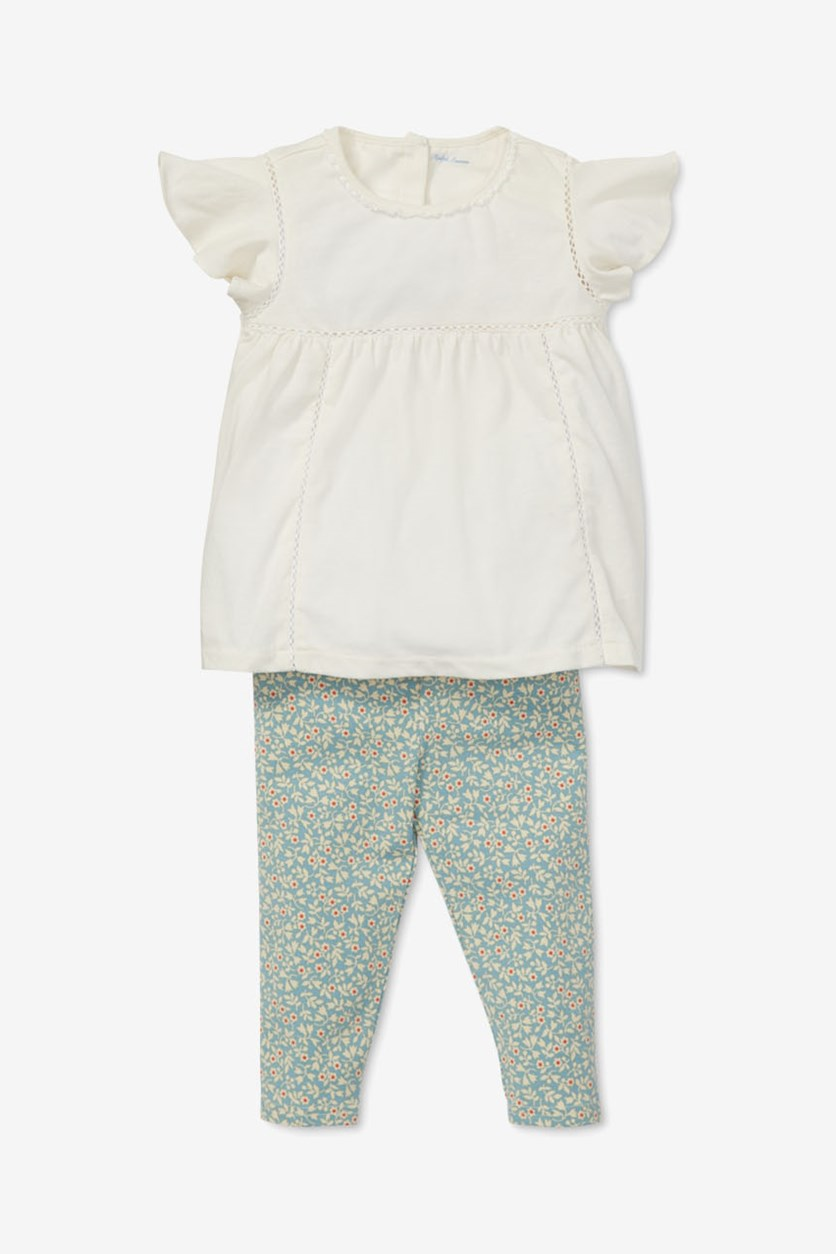 Baby Girl's Lace Top & Floral-Print Leggings Set, Off White/Blue