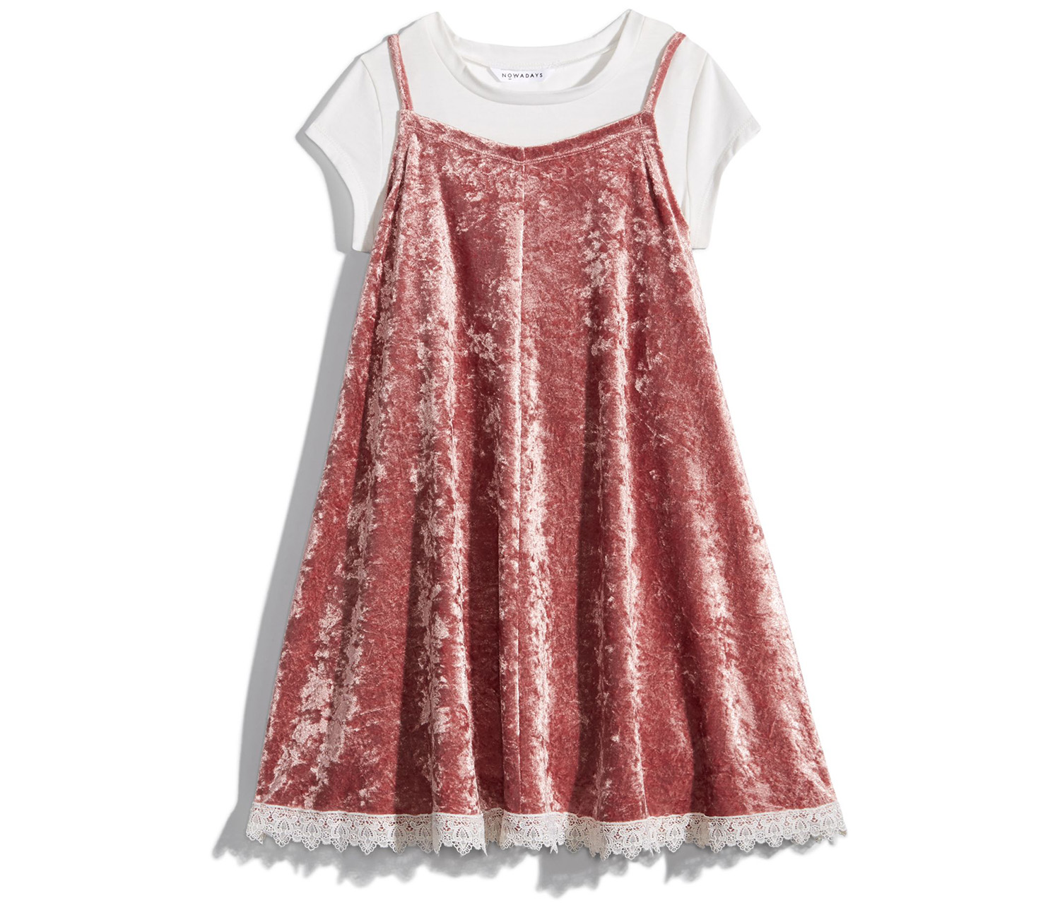 Nowadays Girl A-Line T-Shirt Dress, Pink Velvet