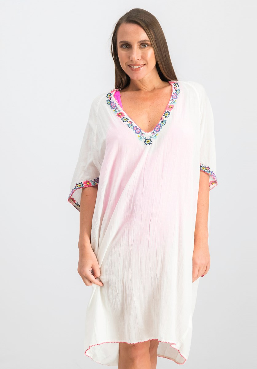 Women's Embroidered Cover-Up Dress, Off White