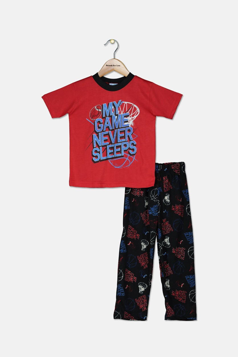 Toddlers  2/4 Knit Pajama Pants 2pcs Set, Red/Black