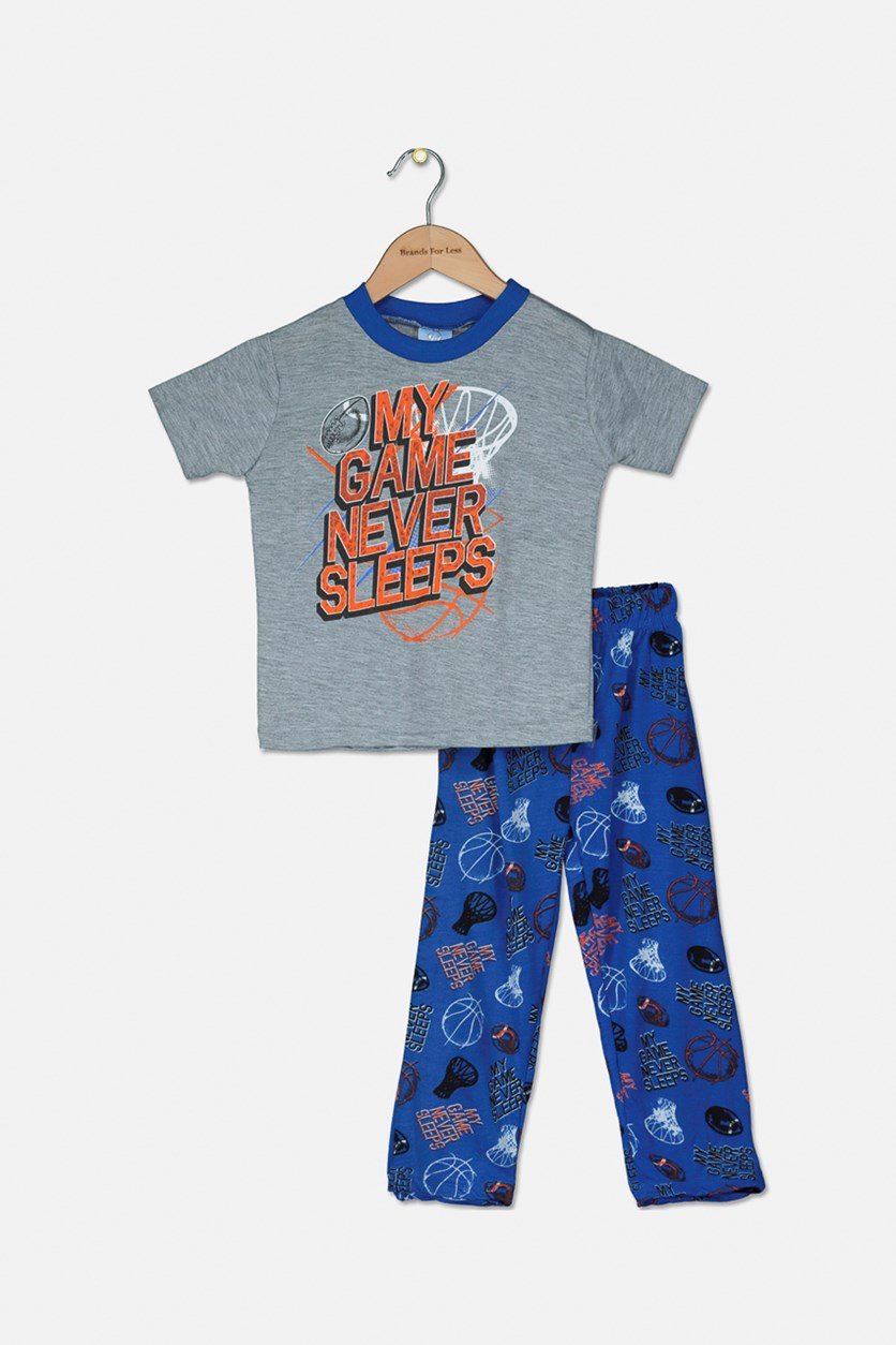 Toddlers Knit Pajama 2Pcs Set, Grey/Blue