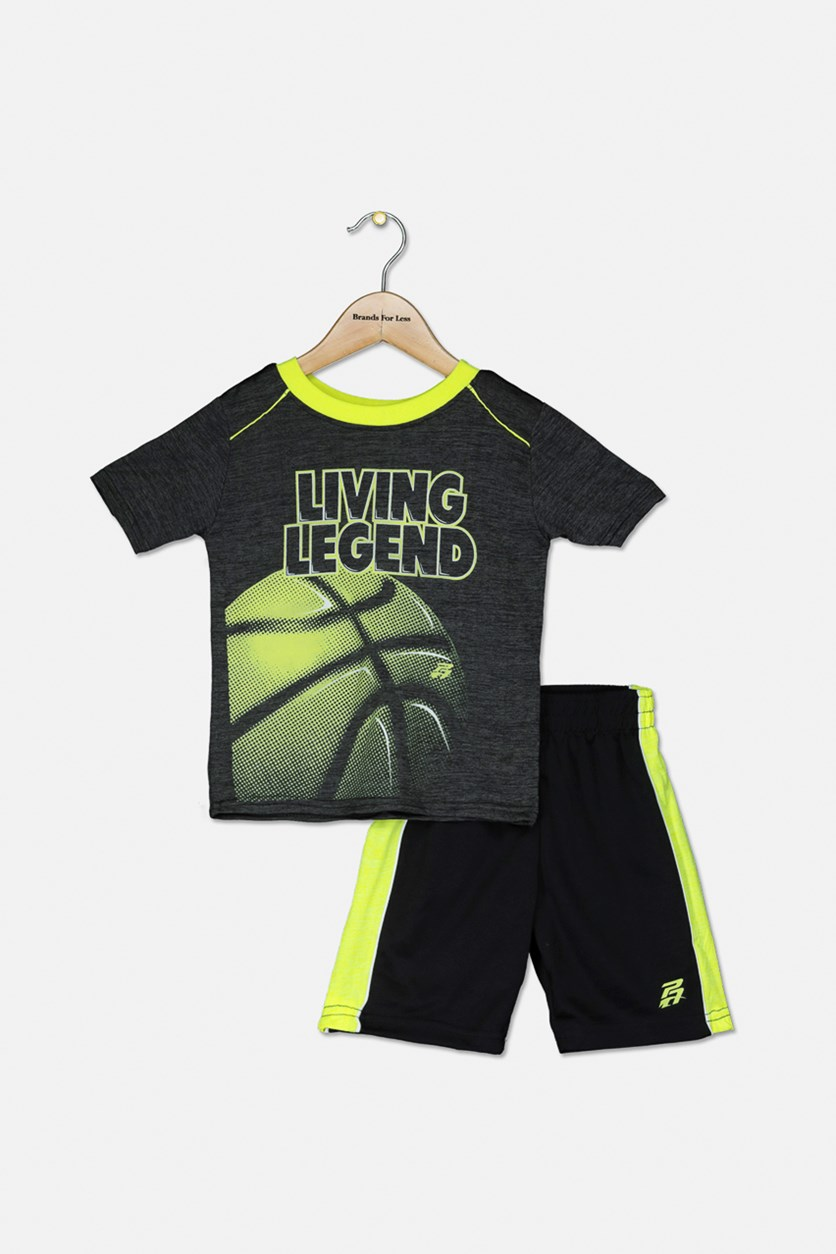 Toddlers Boys Shorts Sleeve Tops And Short Set, Charcoal/Lime Green