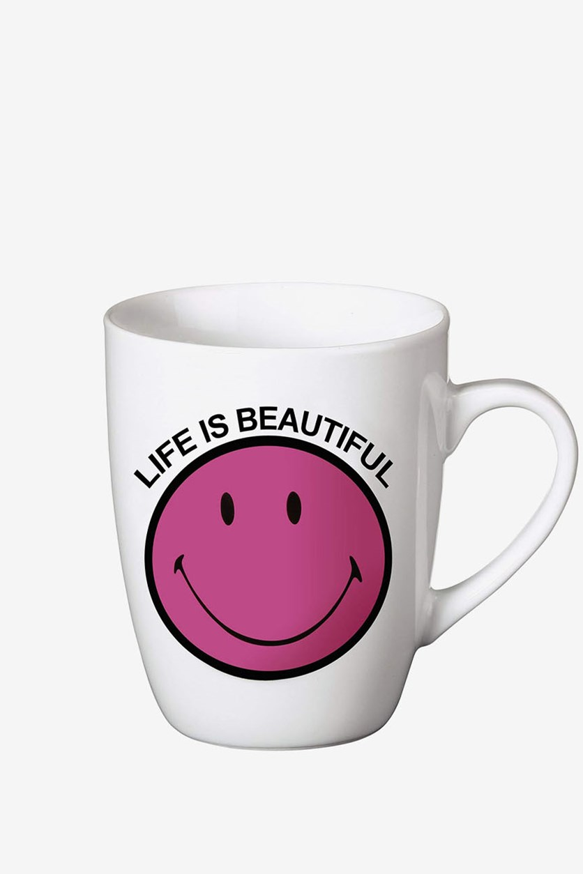 Mug with Life is Beautiful Text and Smiley Porcelain, Fuchsia