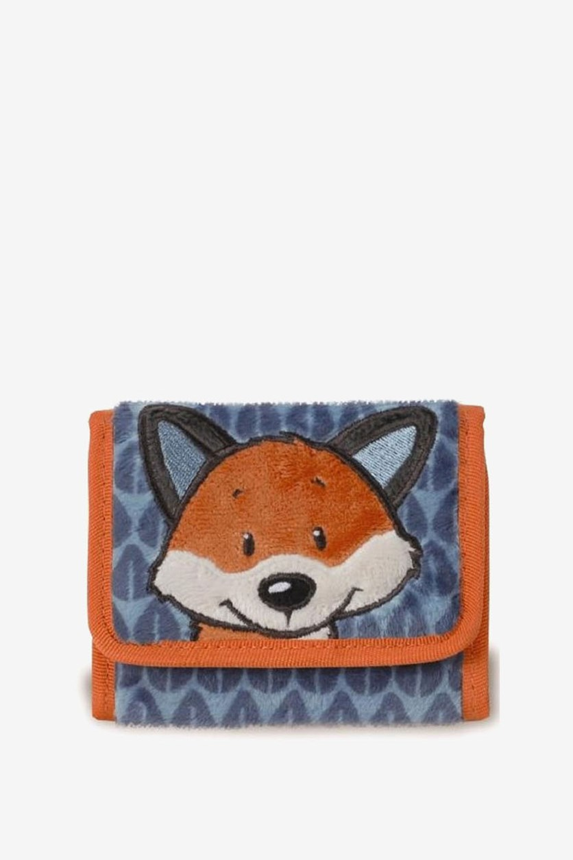 Boys Fox Design Wallet, Orange/Blue