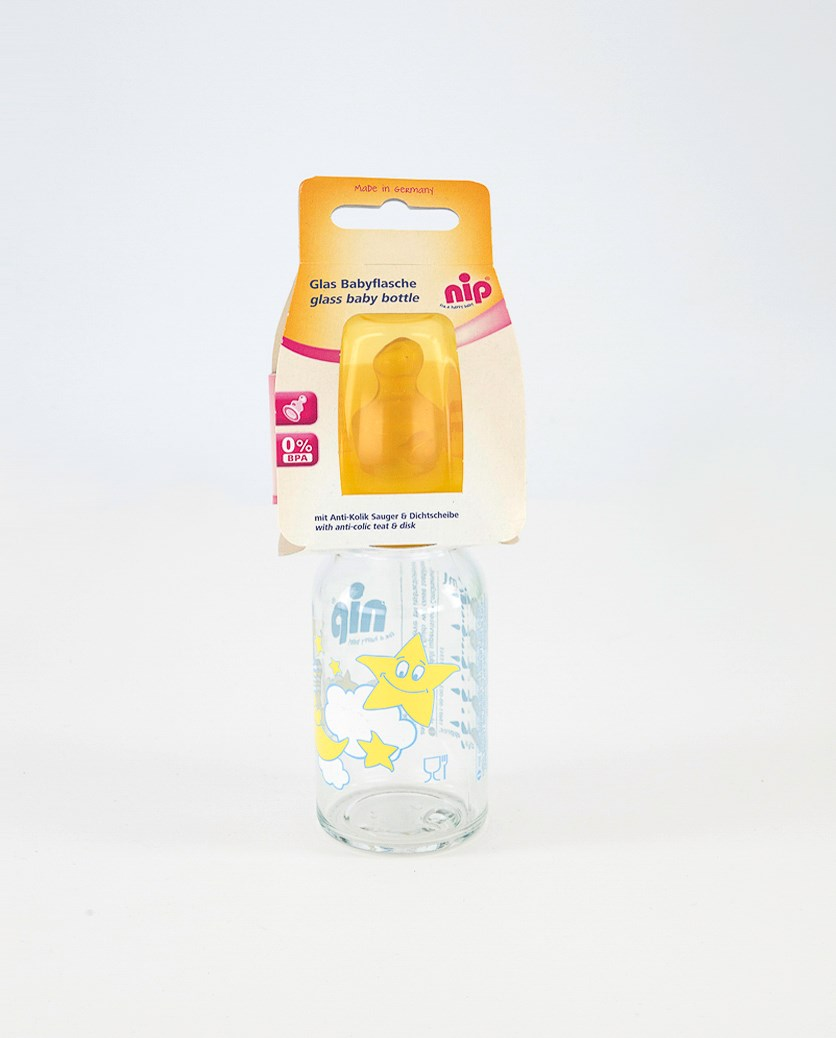 Toddler's Baby Glass Bottle 120 ml, Yellow