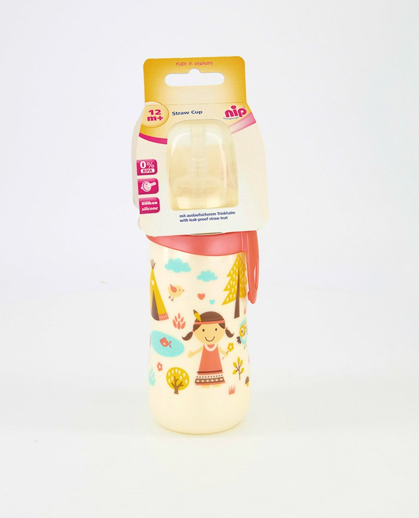 Toddler Girl's Straw Cup Bottle, Ivory Combo