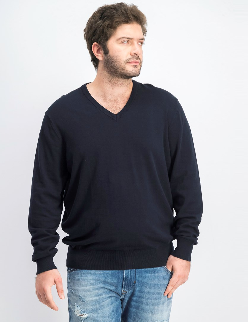 Men's V-Neck Pullover, Navy