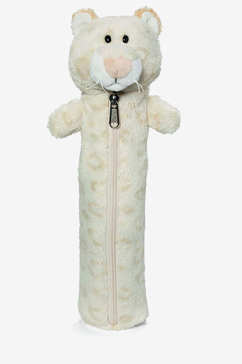 Snow Leopard Girl Pencil Case, Ivory