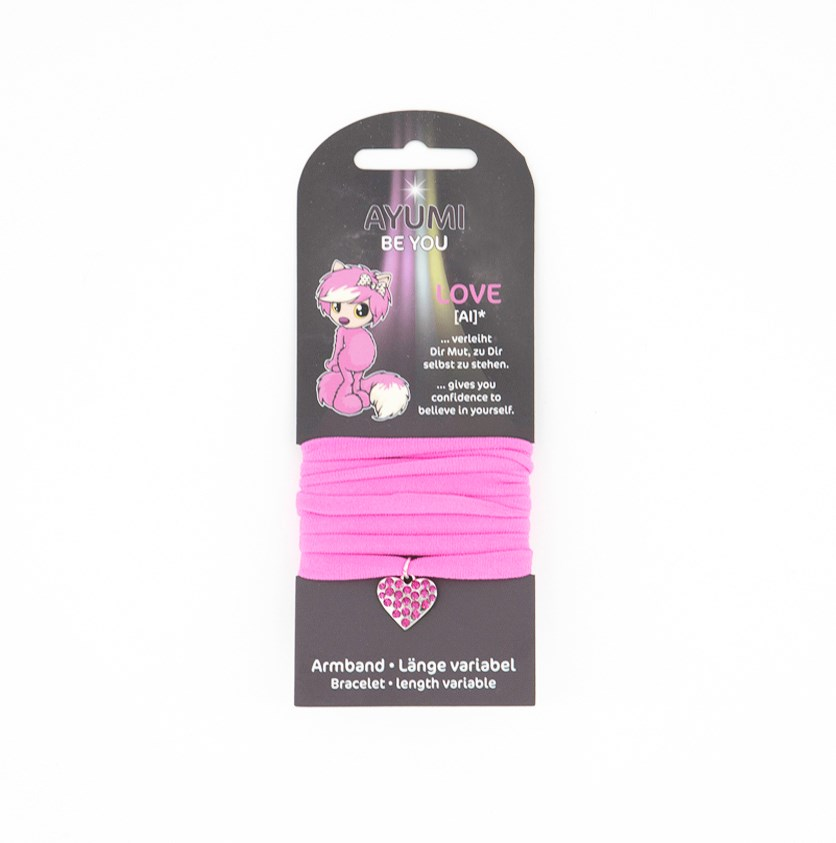 Bracelet Textile With A Heart, Pink