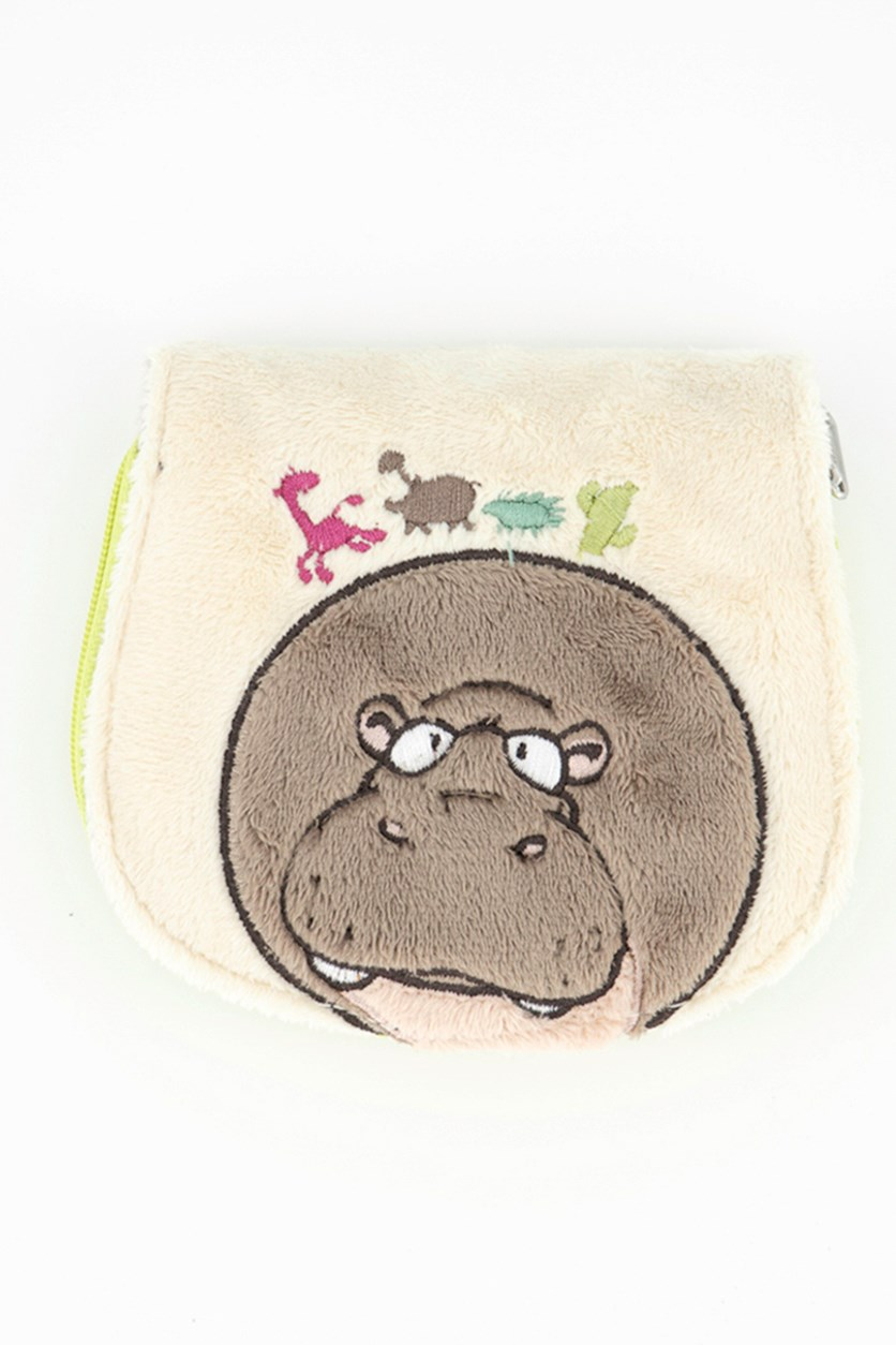 Kids Girls Hippopotamus Purses Wallet, Beige