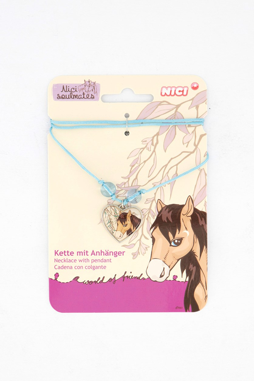 Girl's Necklace With Pendant Horse, White/Blue
