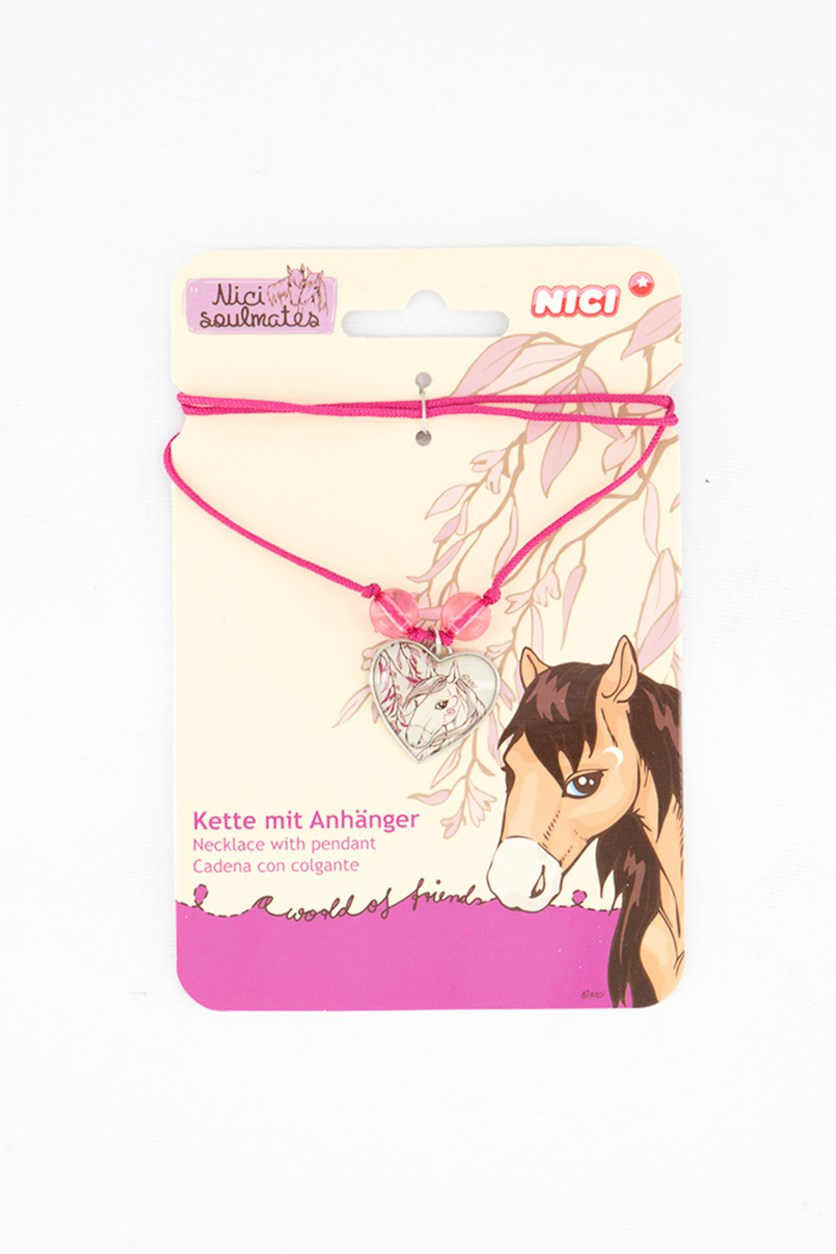 Girl's Necklace With Pendant White Horse, White/Pink