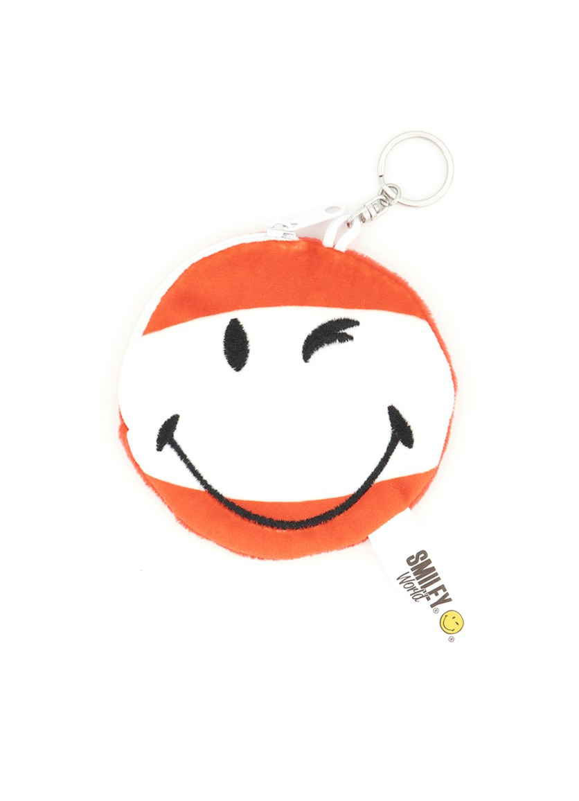 Coin Purse Smiley, White/Red