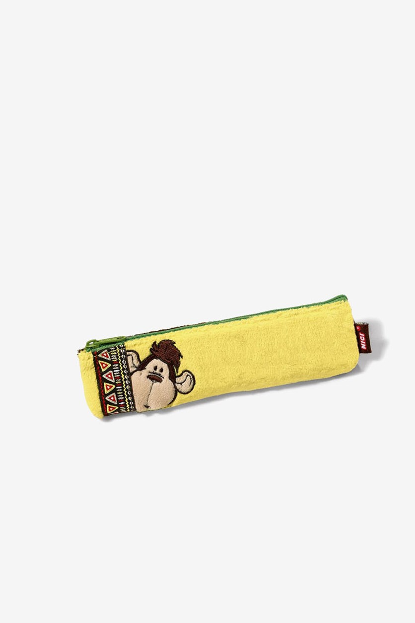 Monkey Plush Flat Pencil Case, Yellow/Brown