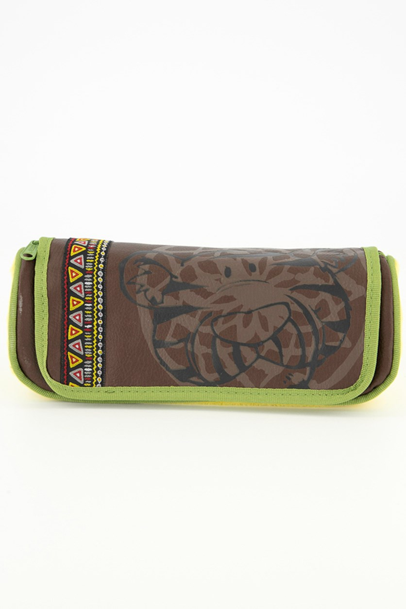 Kids Pencil Case, Brown/Yellow