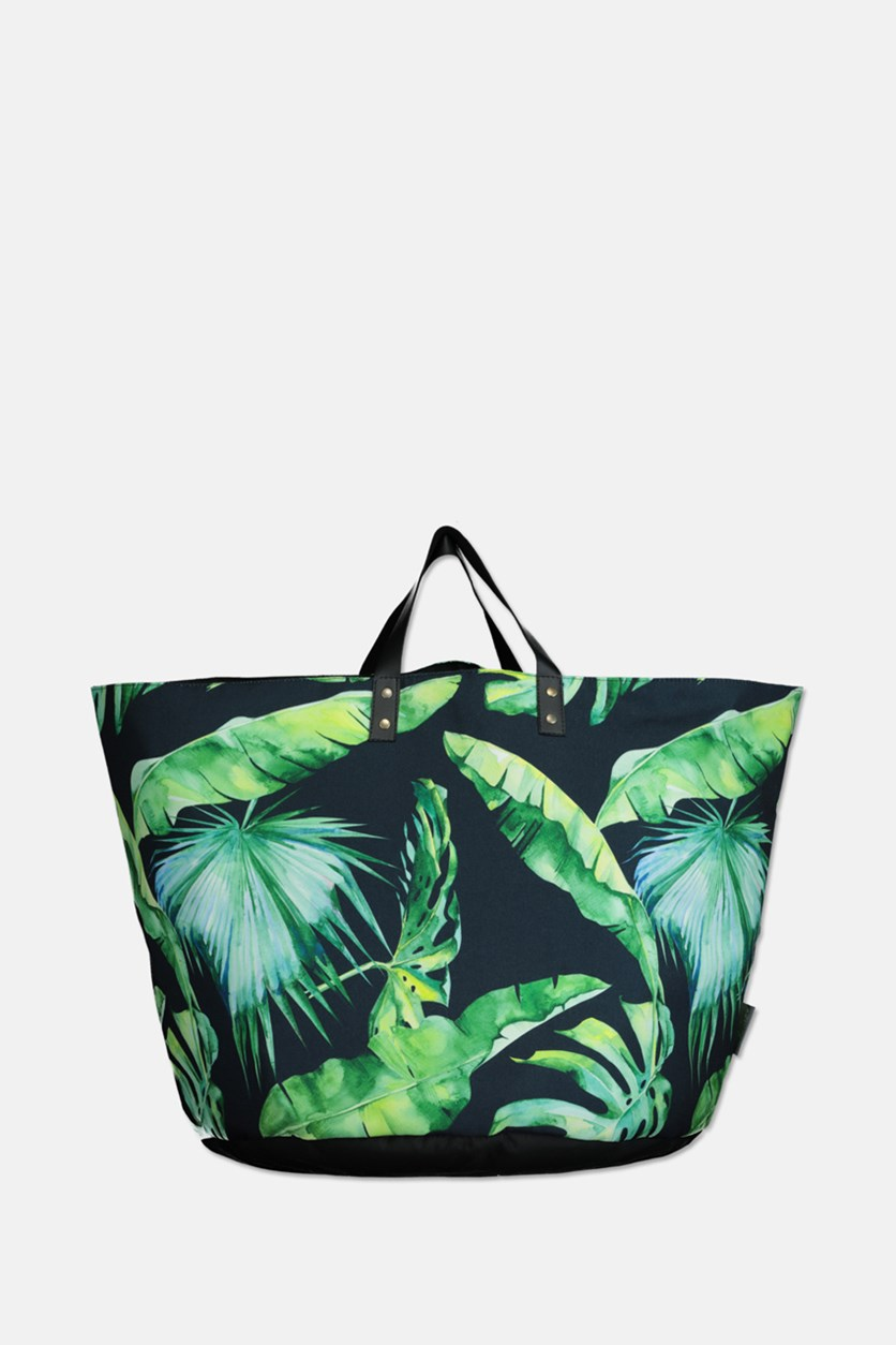Printed Totes Bag, Green/Navy
