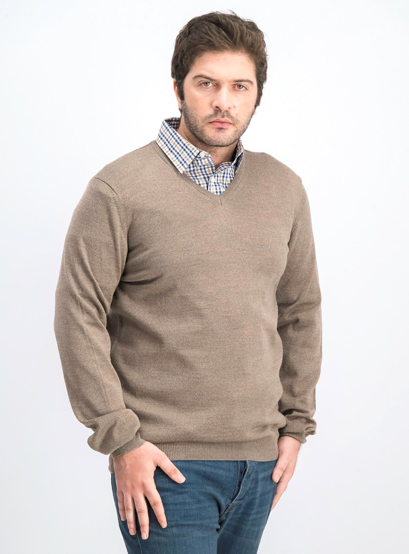 Men's V-Neck Knit Sweater, Brown