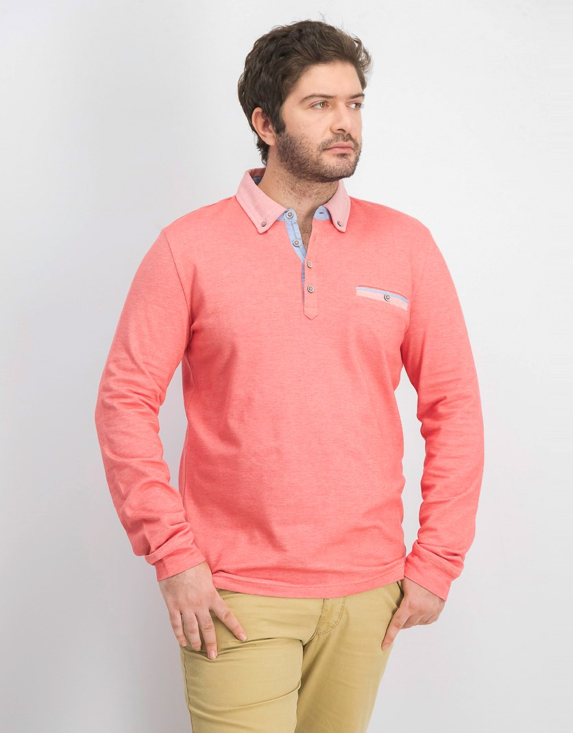 Men's Casual Polo Shirts, Light Red
