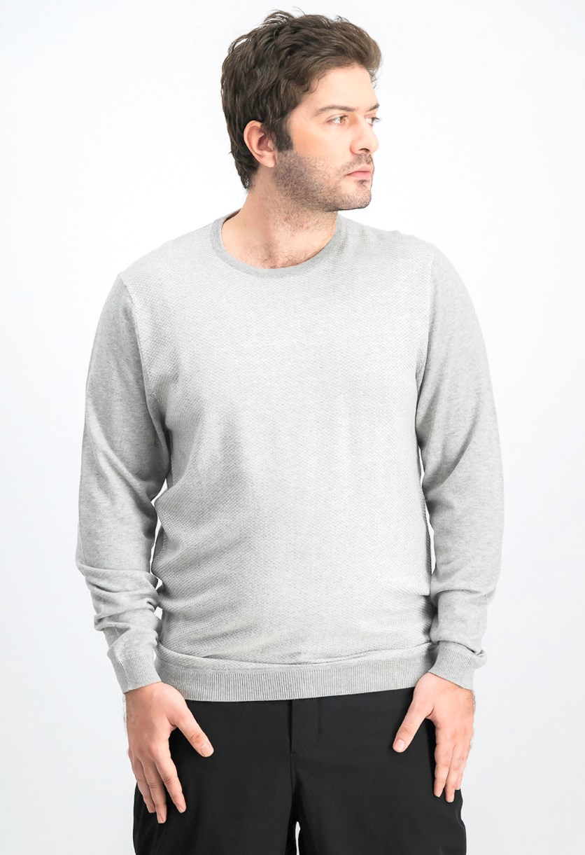 Men's Crew Neck Longsleeve Sweater, Grey