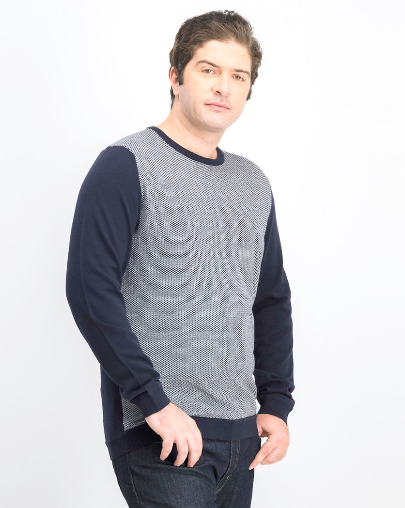 Men's Fine Knit Sweater Round Neck, Navy Blue/White