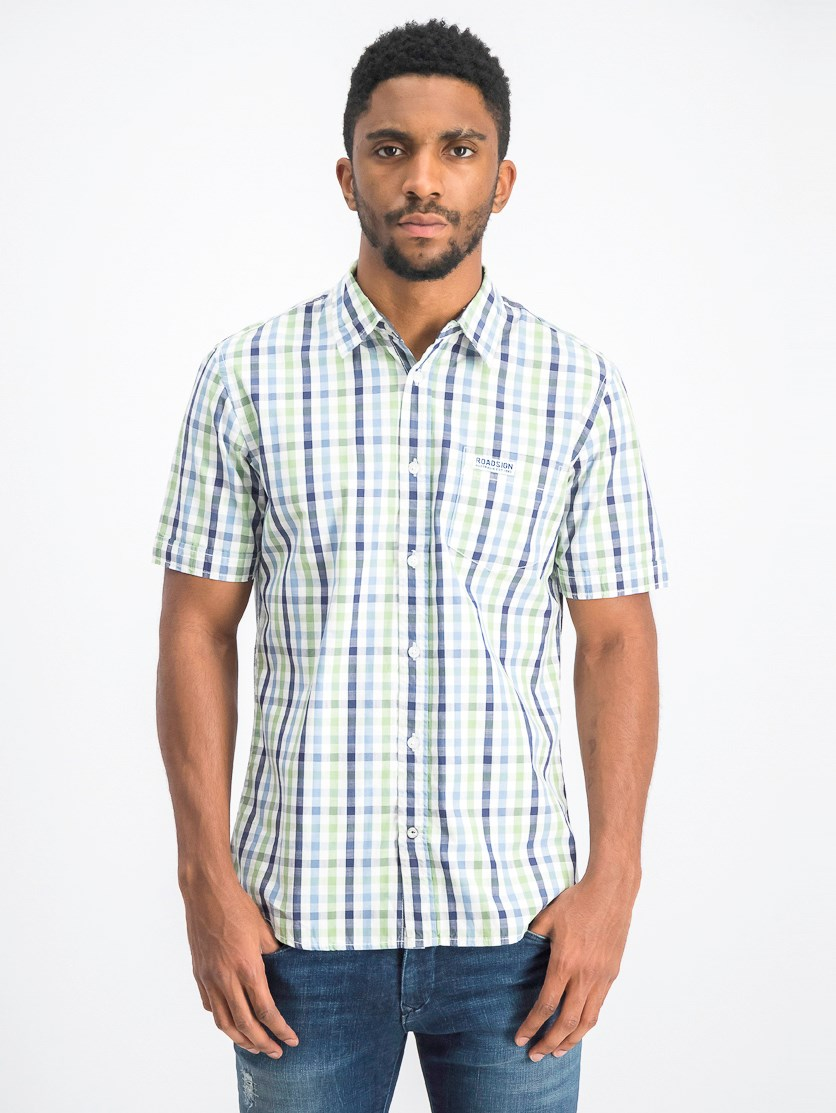 Men's Plaid Casual Shirt, Green/Navy/White