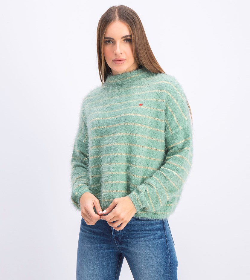 Women's Turtleneck Sweater, Gold/Mint