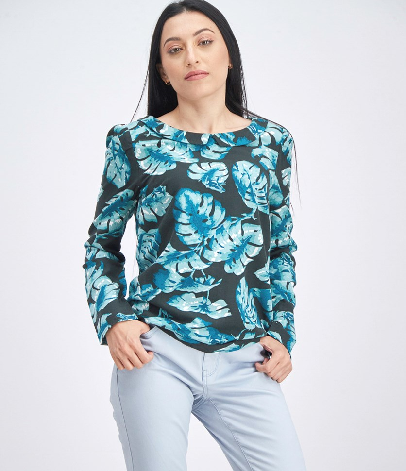 Women's Long Sleeve Floral Top, Black/Teal