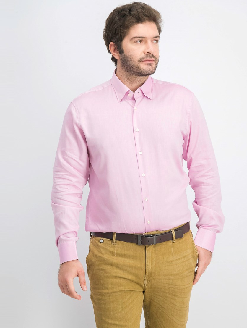Men's Long Sleeve Under Button Shirt, Pink