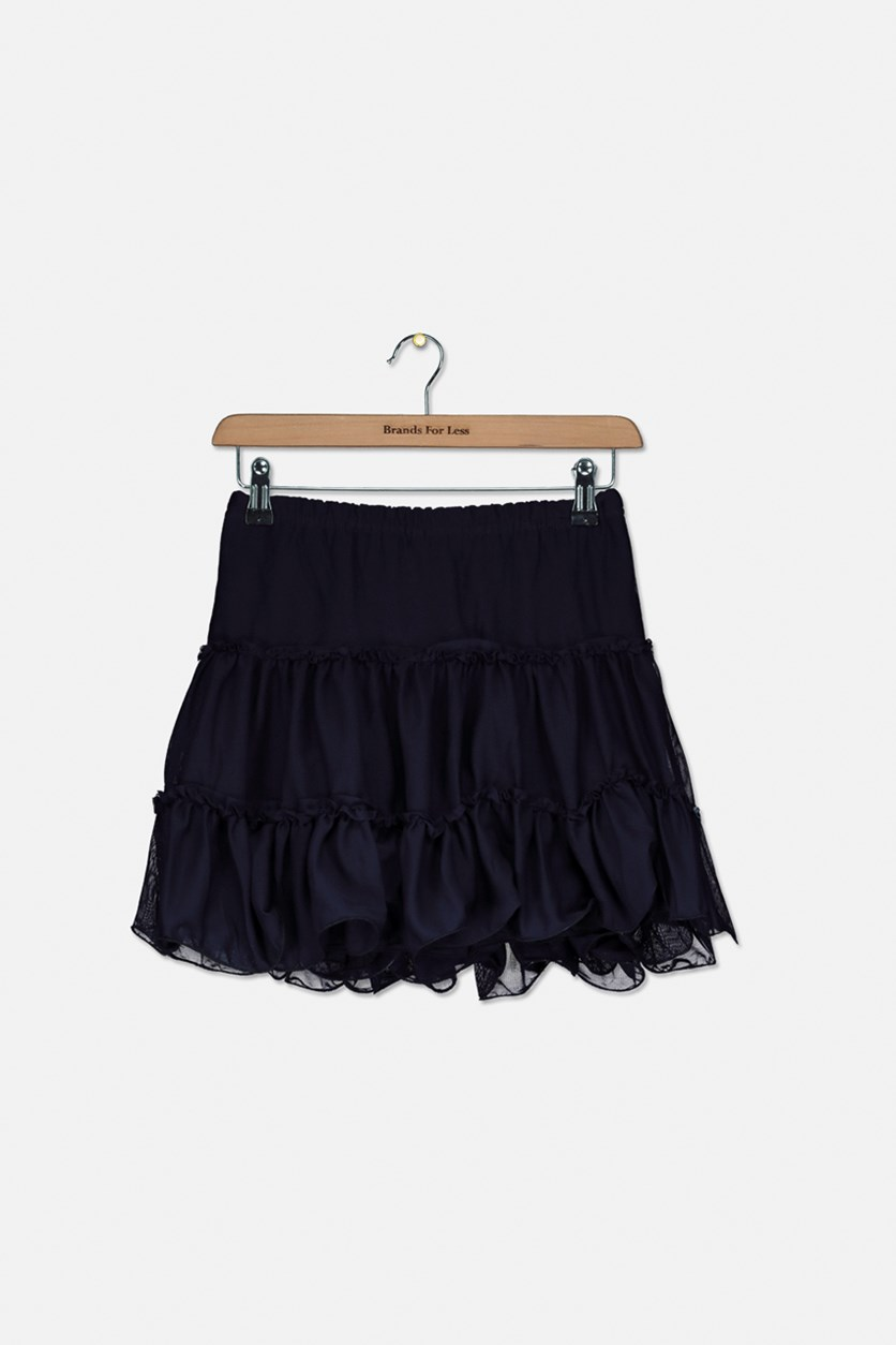 Big Girls Ruffle Lace Skirt, Navy Blue