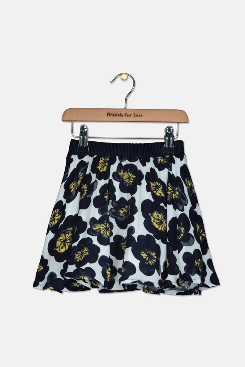 Kids Girls Floral Skirt, Navy