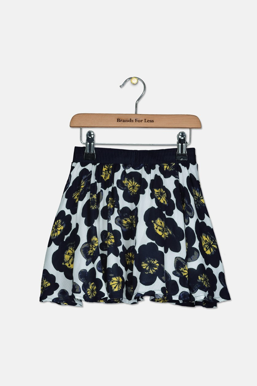 Toddlers Girls Floral Skirt, Navy