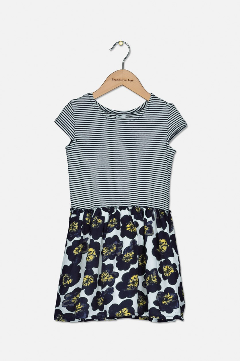 Toddler Girl's Stripe and Floral Print Dress, Navy/White