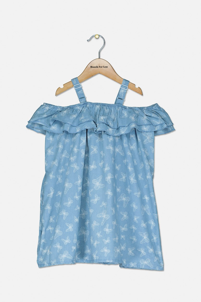 Kids Girl's Butterfly Cold Shoulder Dess, Blue