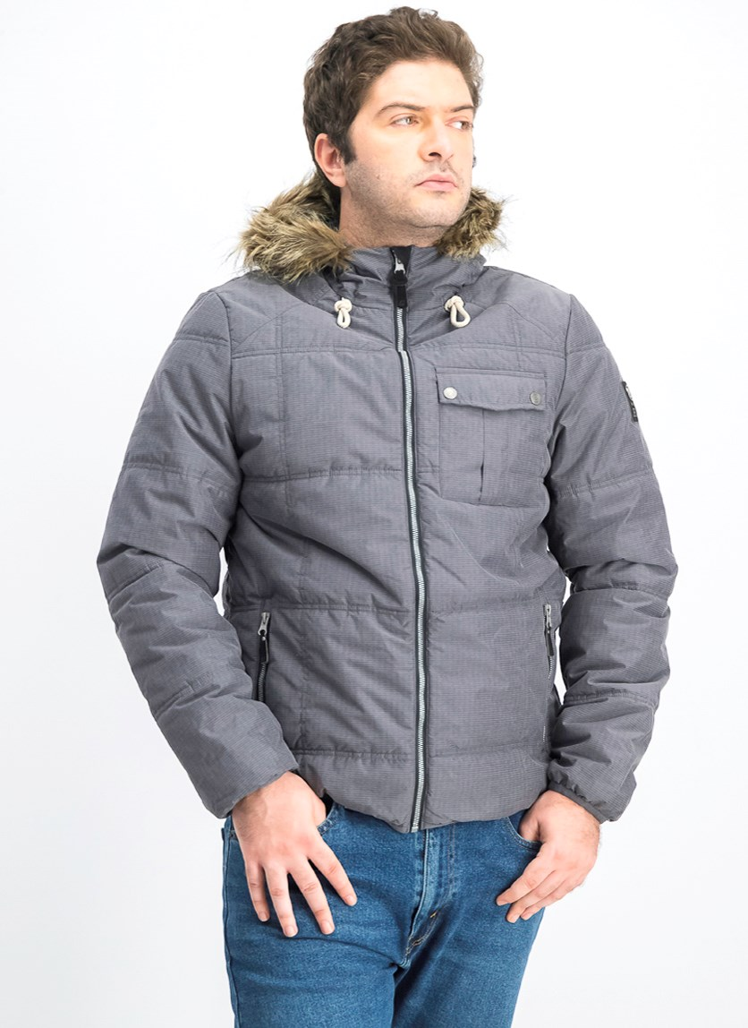 Men's Puffer Hooded Jacket, Grey