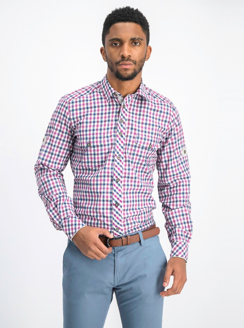 Men's Plaid Casual Shirt, Purple/Navy