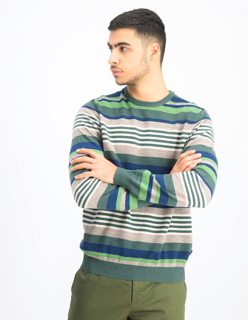 Men's Striped Sweater, Green/White/Grey/Navy Blue