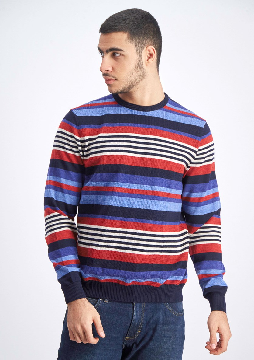 Men's Striped Sweater, Black/Blue/Red/White
