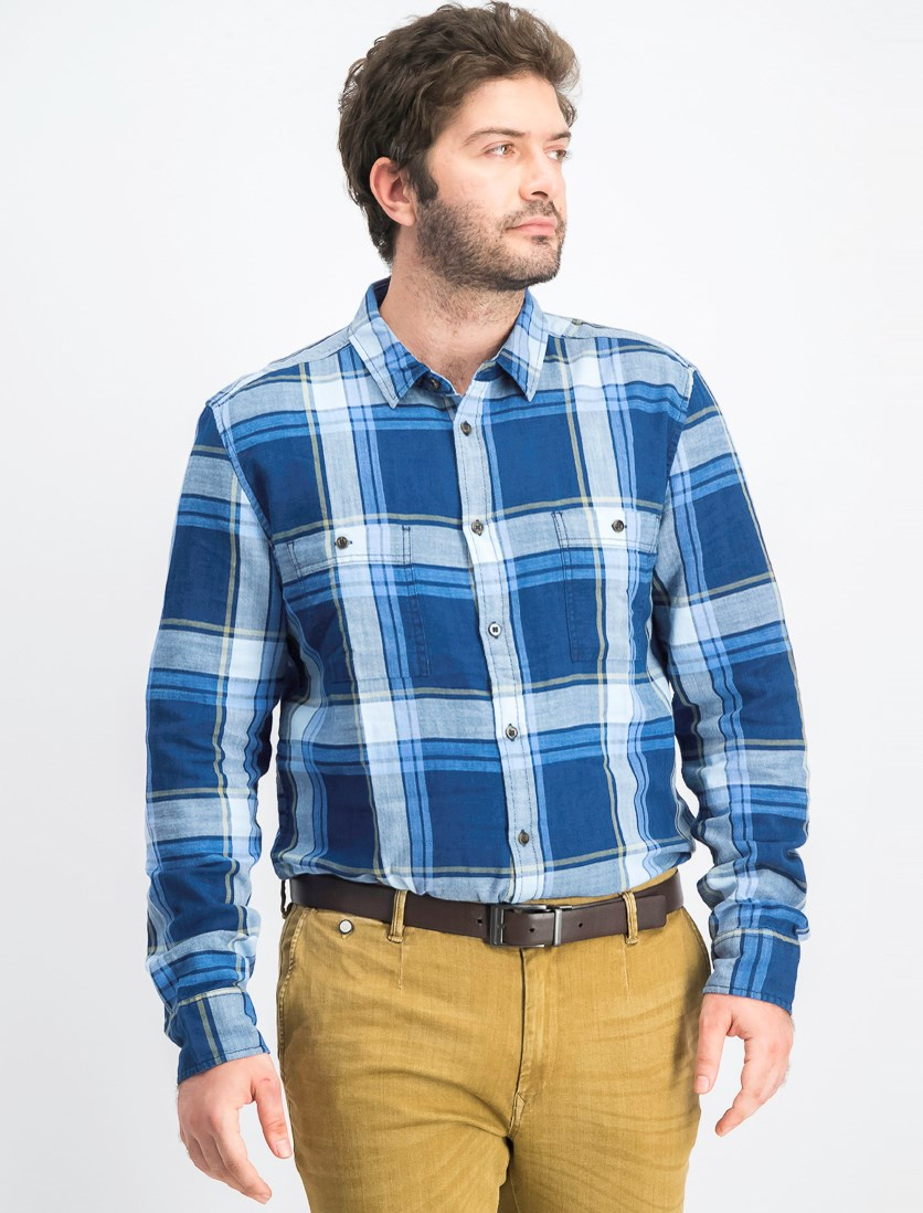 Men's Slim-Fit Plaid Shirt, Navy Combo