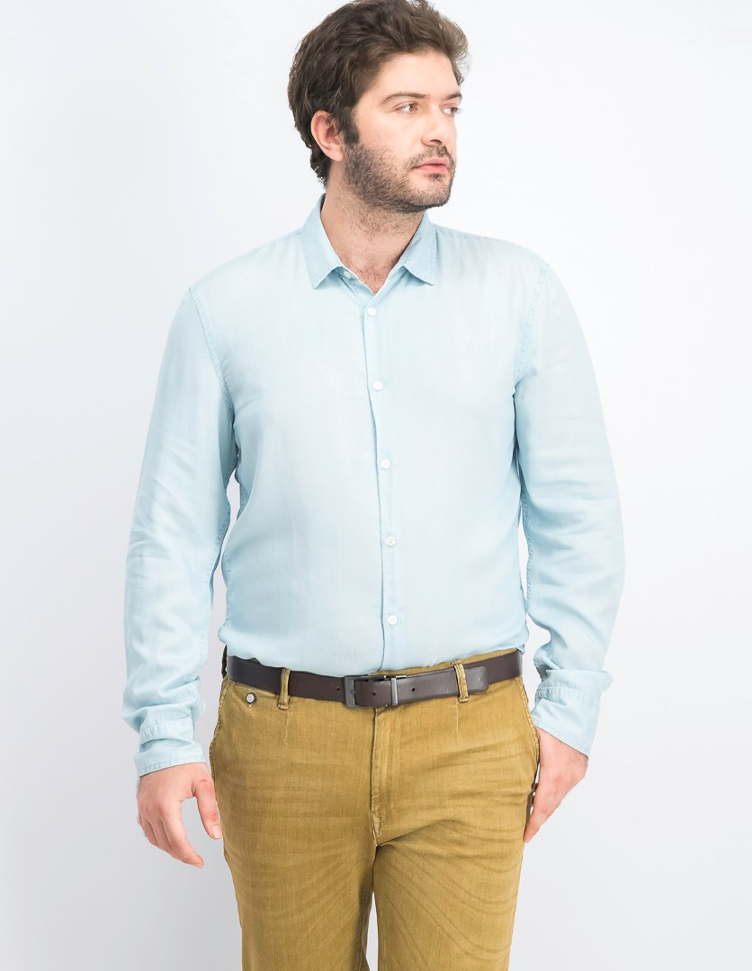 Men's Slim Fit Long Sleeve Shirt, Light Blue
