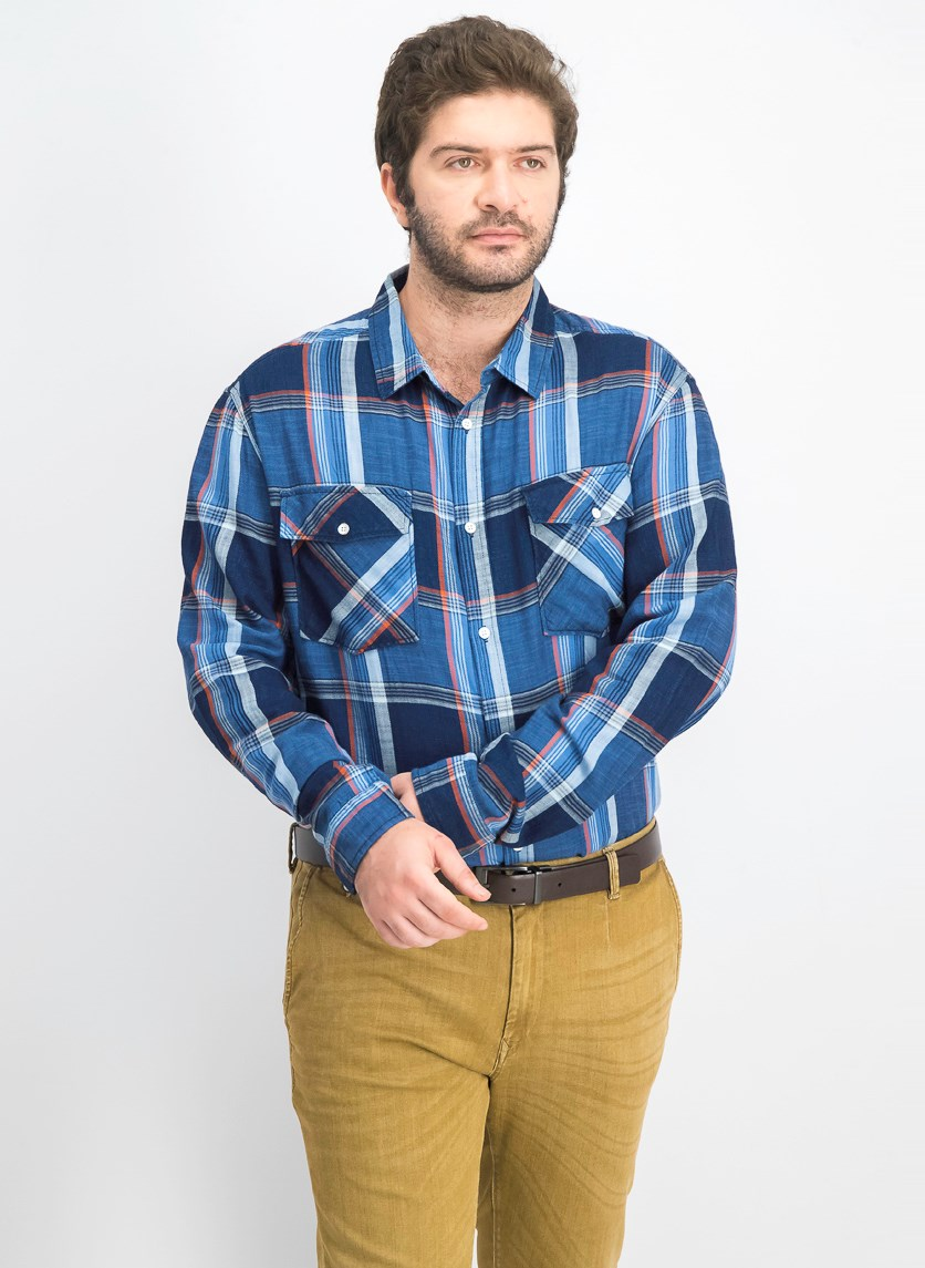 Men's Plaid Shirt, Navy Combo